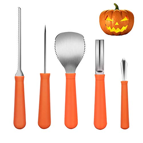 Halloween Professional Pumpkin Carving Kit, iRunning 5 Piece Heavy Duty Stainless Steel Carving Tools Set for Making Halloween Jack-O-Lanterns