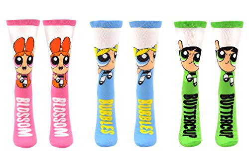 Powerpuff Girls Socks Costume (3 Pair) - (Women) Blossom, Bubbles, Buttercup Gifts Crew Socks - Fits Shoe Size: 4-10 (Ladies)