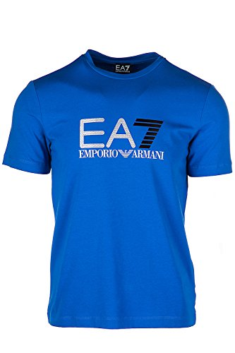 Emporio Armani EA7 Herren T-Shirt Kurzarm Kurzarmshirt runder Kragen blu