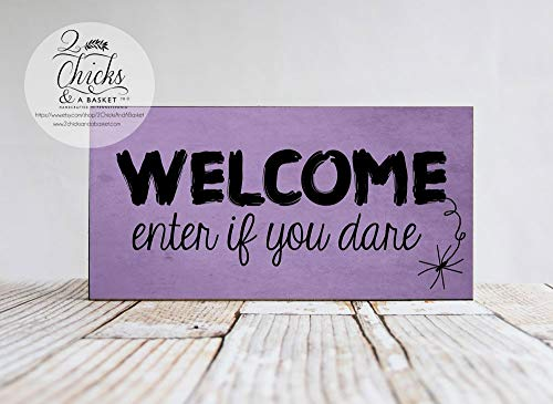 Halloween Welcome Sign Enter if You Dare Sign Halloween Wall Decor Handmade Wood Signs with Quotes Home Plaque