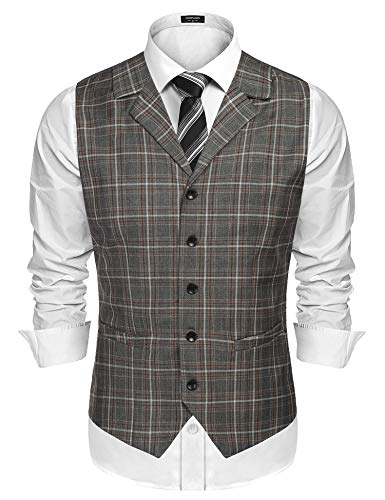 COOFANDY Men's Business Suit Vest Slim Fit Twill Dress Waistcoat for Wedding Party Dinner Khaki