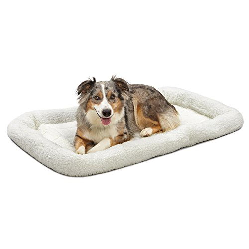 42L-Inch White Fleece Dog Bed or Cat Bew w/ Comfortable Bolster | Ideal for Large Dog Breeds & Fits a 42-Inch Dog Crate | Easy Maintenance Machine Wash & Dry | 1-Year Warranty