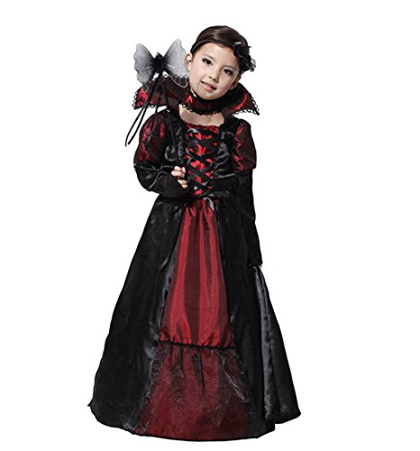 Girls Coffin Queen Vampire Costume, Long Vampire Dress and Collar, xl