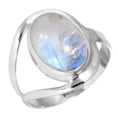 (925 Sterling Silver Ring Rainbow Moonstone Handmade Jewelry Size 5)