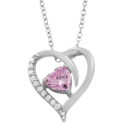 October Birthstone Heart Necklace (18 inch)