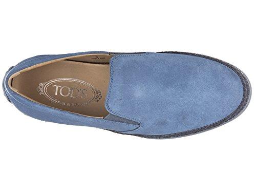 Tod's slip on uomo in camoscio sneakers nuove originali blu
