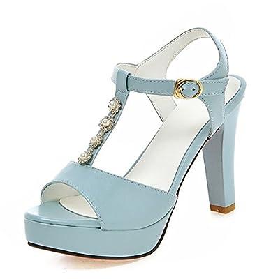 Aisun Women's Cute Beaded Ankle Wrap T Strap Buckled Peep Toe Dress Platform Sandals Chunky High Heels Shoes