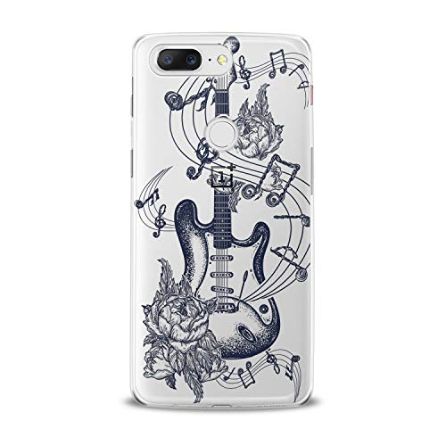 (Lex Altern TPU Case for OnePlus 7 Pro 6T 6 2019 5T 5 2017 One+ 3 1+ Clear Floral Guitar Art Pattern Amazing Black Cover Soft Silicone Special Dot Work)