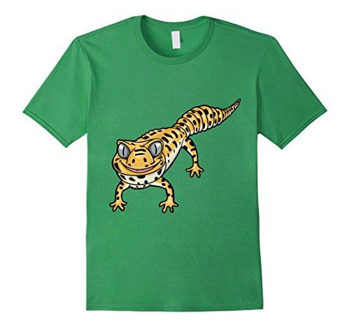 Men's Cute Smiling Leopard Gecko Lizard Cartoon T-Shirt X...
