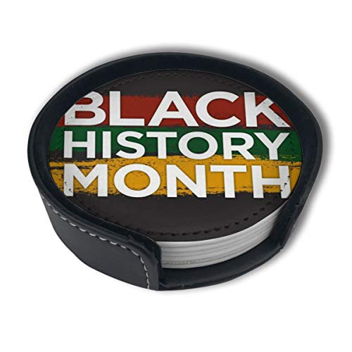 PDUOW Black History Month Color Logo Coasters for Drinks,PU Leather Coasters with Holder,Protect Furniture from Damage(6PCS) -