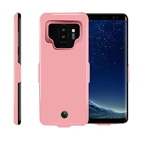 DEESEE(TM) New7000mAh Extended Charging Battery Power Case Cover for Samsung Galaxy S9 Plus (Pink)