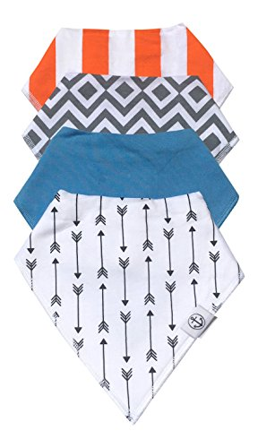 Baby Bandana Drool Bibs with Adjustable Snaps | 4-Pack Super Absorbent Cotton, Great Baby Shower Gift for Boys by The Hamptons Baby (Boys Pattern & Solid) (Best Bandana Bib Pattern)