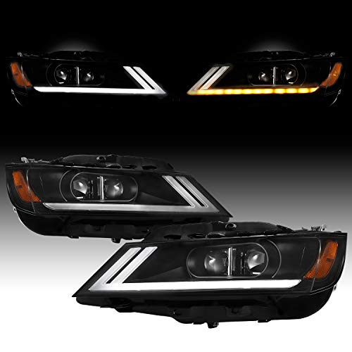 [Switchback LED Signal]For 2015-2019 Chevy Impala LED DRL Black Bezel Dual Projector Headlight Lamp Assembly (Headlights Projector Impala)