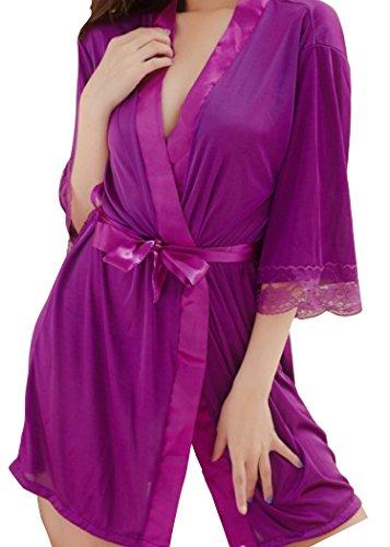 HO-Ersoka bata ligerada, transparente sedosa brillante con encaje y string incluido púrpura