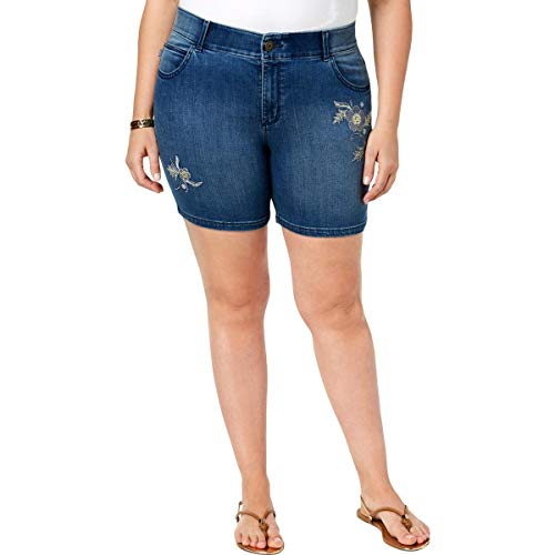 LEE Womens Plus Embroidered Denim Denim Shorts Blue -