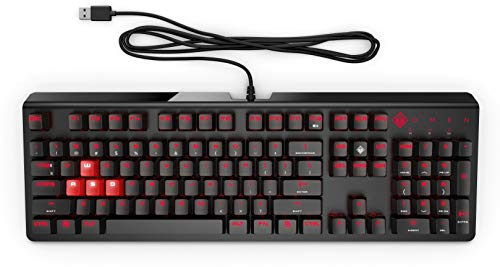 HP Omen 1100 Gaming Keyboard (USB) - Anti-Ghosting Function with Rollover To N Buttons, Switch with Mechanical Greetech Blue, Dedicated LED for Each Button