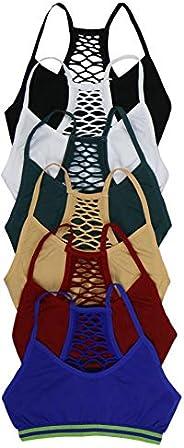 ToBeInStyle Pack de 6 sujetadores de malla sin costuras y pantalones cortos para niña