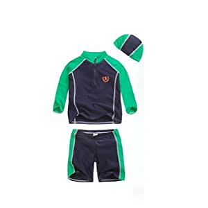 PANDA SUPERSTORE Boys Patchwork Swimwear Two Pieces, Long Sleeve, 6T, 4-5 Years Old, Green