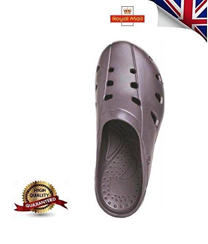 Men Women Beach Shoe Sandals Garden Kitchen Hospitality Clogs & Shoes UK NEW GREY tx9Jt