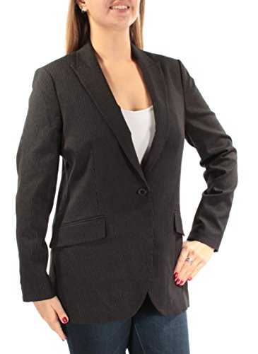 Blazer Jacket Black Pinstripe (Anne Klein Women's Pinstripe Jacket, Black/White, 6)