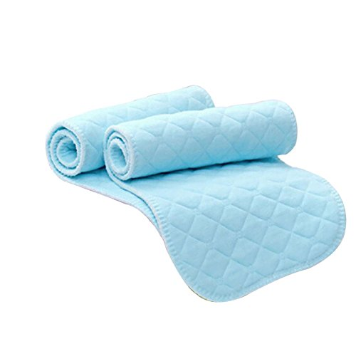 Pads Disposable Insert (10 Pcs Baby Cotton Cloth Diaper Washable Reusable 3 Layers Nappy Liners Inserts Changing Pad Covers for Pocket Diaper (Blue))