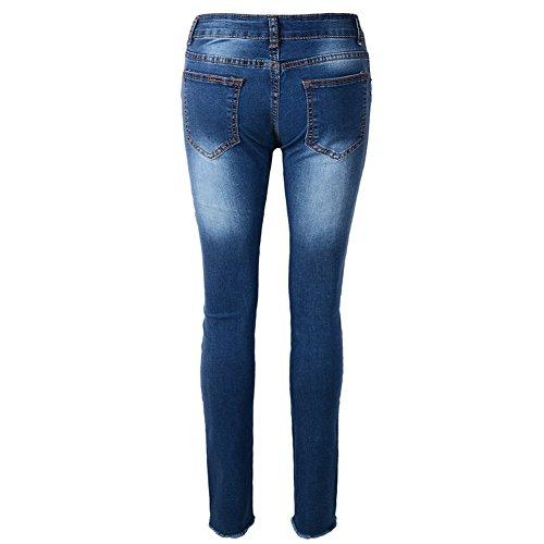 Denim Vaqueros Pantalones Jeans Bordados Mujeres Pantalones Lápiz Skinny Azul wCqTHnaxg6