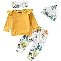 Toddler Baby Girls Fall Outfit Long Sleeve Ruffle Shirts+Floral Pants+Headband+Hat Clothes Set 4Pcs