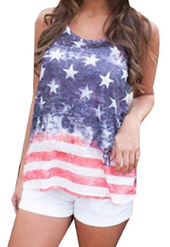 原子炉ナインへ従者Tootess 女性の夏のそでなしの7月4日のアメリカの旗ベストタンクトップシャツ