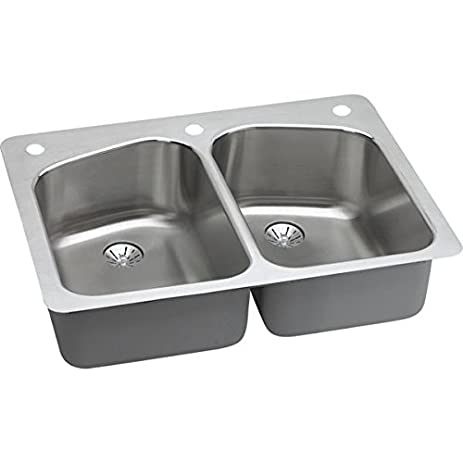 Elkay Lustertone LKHSR33229PD3 Equal Double Bowl Dual Mount Stainless Steel  Sink With Perfect Drain