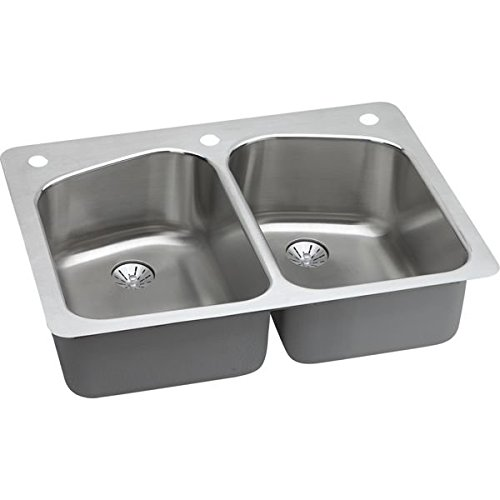 Harmony Lustertone Double Bowl - Elkay LKHSR33229PD3 Lustertone Classic Equal Double Bowl Dual Mount Stainless Steel Sink with Perfect Drain