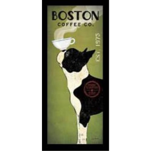 - Buyartforless FRAMED Boston Terrier Coffee Co Panel Ryan Fowler Vintage Ads Dogs Pets Print Poster 8x20