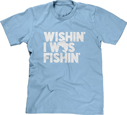 Blittzen Mens T-shirt Wishin I Was Fishin, S, Light -