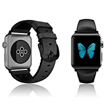 Apple Watch 38mm Series 1 / 2 Patchworks Air Strap in Black - Premium Genuine Leather Band Replacement Bracelet Strap Dual Material Structure