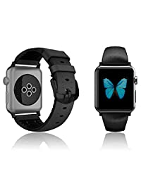 Patchworks Air Strap Black for Apple Watch 42mm Series 1 / 2 - Premium Genuine Leather Band Replacement Bracelet Strap Dual Material Structure