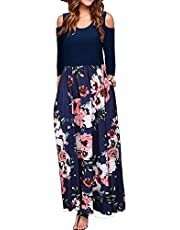 MISFAY Women's Summer Cold Shoulder Floral Print Elegant Maxi Long Dress with Pocket (S, Black Green)