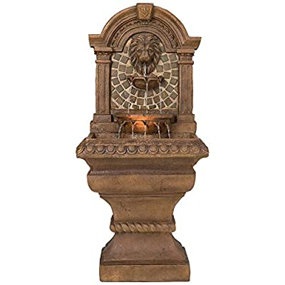 """John Timberland Royal Lions Head Mediterranean Outdoor Wall Water Fountain with Light LED 51"""" High 3 Tiered for Yard Garden Patio Deck Home - 51"""" high x 23 1/2"""" wide x 15 1/2"""" deep. Bottom of base is 16"""" wide x 13"""" deep. Weighs 48 lbs. Lions head garden fountain. Designed to be set against a house or garden wall. By John Timberland. Light in the middle water basin lights the fountain at night. - patio, outdoor-decor, fountains - 41qofI916HL. SS400  -"""