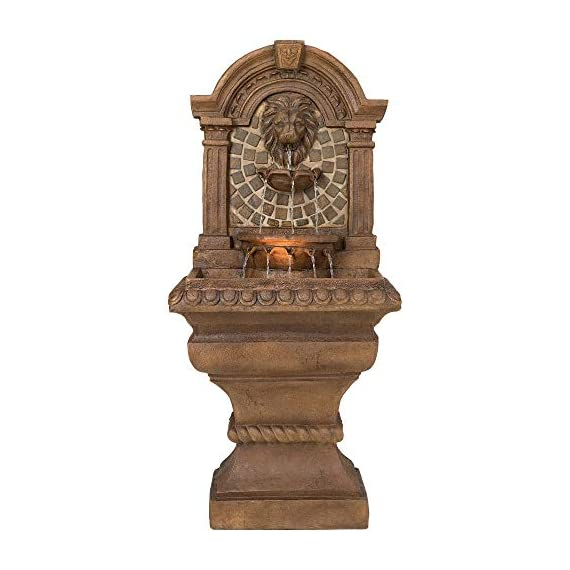 """Royal Lions Head Mediterranean Outdoor Wall Water Fountain with Light LED 51"""" High 3 Tiered for Yard Garden Patio Deck Home - John Timberland - 51"""" high x 23 1/2"""" wide x 15 1/2"""" deep. Bottom of base is 16"""" wide x 13"""" deep. Weighs 48 lbs. Lions head garden fountain. Designed to be set against a house or garden wall. By John Timberland. Light in the middle water basin lights the fountain at night. - patio, outdoor-decor, fountains - 41qofI916HL. SS570  -"""