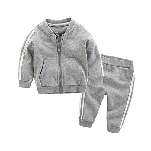 Unisex Tracksuit - Moyikiss Studio Unisex Tracksuit Baby Boys Girls Clothes Cotton Long Sleeve Zipper Sweatshirt Jacket and Pants (Grey, 80/9-12Months)