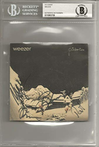 WEEZER REAL hand SIGNED Pinkerton CD Cover Slabbed Display BAS COA Rivers +3 (Weezer Signed)