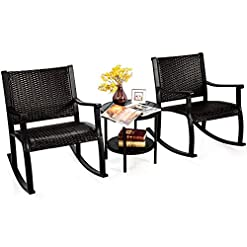 Garden and Outdoor Tangkula 3 Piece Rocking Bistro Set, Wicker Patio Outdoor Rocking Chairs Set of 2, Furniture Set w/Coffee Table…