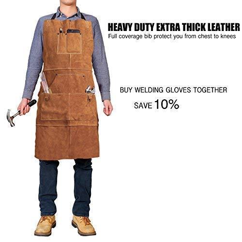 Delantal de cuero para soldar, para taller, resistente, con 6 bolsillos para herramientas: Amazon.es: Bricolaje y herramientas