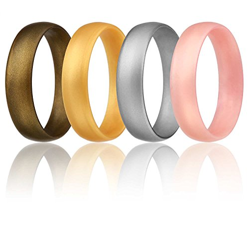 Silicone Wedding Ring For Women By ROQ, Set of 4 Affordable Comfort Fit 6mm Love Metallic Silicone Rubber Wedding Bands - Silver, Gold, Rose Gold, Bronze - Size 6
