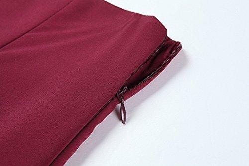 Mujeres Elegante faldas Plisada larga Midi faldas de Cintura Alta Vino Rojo