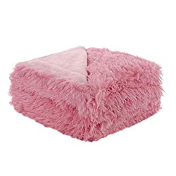 Uxcell Solid Faux Fur Queen Size Blanket 78 Inches X 90 Inches Decorative Fuzzy Long Shaggy Blankets Lightweight Long Fur Microfiber Fleece Blanket For Bed Keep Warmth For Years Pink
