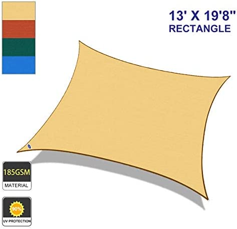 Cool Area Rectangle 13 X 19 8 Sun Shade Sail for Patio in Color Sand
