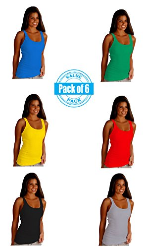 Sexy-Basics-Womens-6-Pack-Stretch-Ribbed-Tank-Tops