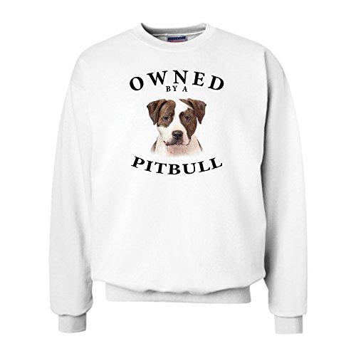 (Pit Bull BRINDLE WHITE Owned By Adult Sweatshirt - MEDIUM)