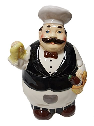 Fat Chef Ceramic Hand Painted Kitchen Cookie Jar ()