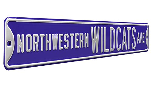 Authentic Street Signs 70047 Northwestern University Wildcats Ave, Heavy Duty, Metal Street Sign Wall Decor, 36