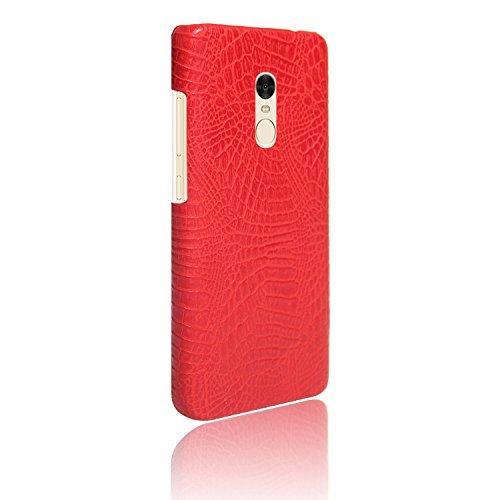 YHUISEN Redmi Note 4 Caso, patrón de piel de cocodrilo clásico de lujo [ultra delgado] cuero de PU antirayado PC cubierta protectora dura de la caja para Xiaomi Redmi Nota 4 ( Color : Black ) Red